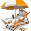 Stock Photo: 3D white . Sunbathing on lounger