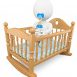 3D white . Baby in the crib — Stock Photo