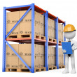 3D white . Warehouse Manager — Stock Photo