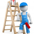 Royalty-Free Stock Photo: 3D white people. Painter with ladder