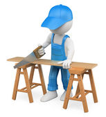 3D white . Carpenter cutting wood with a handsaw — Stock Photo