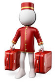 3D white . Bellhop with two suitcases — Stock Photo