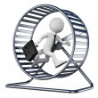 Stock Photo: 3D white people. Businessman in a hamster wheel