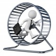 Stock Photo: 3D white people. Businessmin hamster wheel