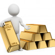 3D white people. Gold ingots. Bullion — Stock Photo