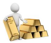 3D white people. Gold ingots. Bullion — Stock Photo