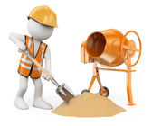 3D white people. Construction worker with a shovel and a concret — Foto Stock
