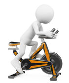 3D white people. Man doing spinning on a bike — ストック写真