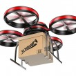 Stock Photo: 3D drone delivering package