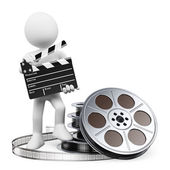 3D white people. Clapper board and film reel — Stock Photo