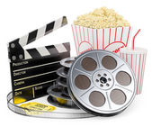 3D white people. Cinema clapper film reel drink and popcorn — Stock Photo
