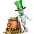 3D white people. St patricks day. Leprechaun with pot with gold — Stock Photo