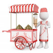 3D white people. Traditional ice cream cart — Stock Photo #42707663