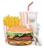3D white people. Fast food. Hamburger fries drink — Stock Photo