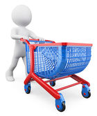 3D white people. Shopping trolley — Стоковое фото