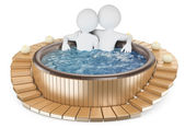 3D white people. Couple relaxing in a jacuzzi — Stock Photo
