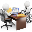 3D white people. Handicapped person in job interview — Stock Photo #49056461