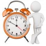 3D man with a huge alarm clock — Stock Photo #8820660