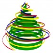 Christmas tree from ribbons — Stock Photo
