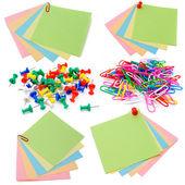 Kolor naklejki i spinacze do papieru — Zdjęcie stockowe