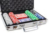 Aluminum suitcase for poker — Stock Photo