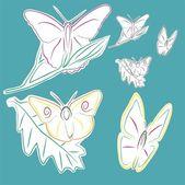 Butterflies on flowers — Stock Vector