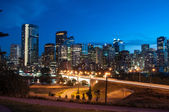 Calgary skyline at night — Stock Photo