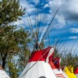Blackfoot plains Indian tepees — Stock Photo #38623759