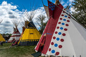 Blackfoot plains Indian tepees — Stock Photo