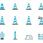 Traffic warning sign icon series in duotone — Stockvektor