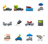 Car insurance icons in colors. — Stock Vector