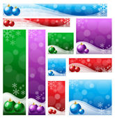 Christmas banner set in various color & size. — Stock Vector