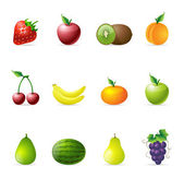 Fresh fruit icons in colors. — Stock Vector