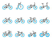Bicycle type icons in duo tone colors. — Stock Vector