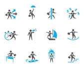 Businessman icon in various activities. — Stock Vector