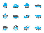 Cakes icons in duo tone colors. — Stock Vector