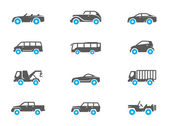 Car icons in duo tone colors. — Stock Vector