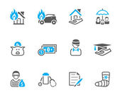 Insurance icons in duo tone. — Stock Vector