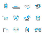 Travel icon set in duo tone color style. — Stock Vector