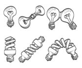 Lightbulb and spiral bulbs sketches. — Stock Vector