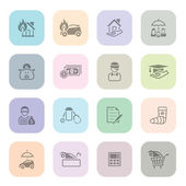 Insurance icon series in light colors — Stock Vector