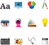 Printing & graphic design icon series in Metro style — 图库矢量图片