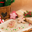 Christmas composition with cookies — Stock Photo
