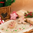 Christmas composition with cookies - Stock Photo
