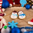 Stock Photo: Christmas composition with Santa Claus and cookies