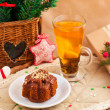 Stock Photo: Christmas composition with cake and tea