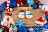 Christmas composition with Santa Claus and cookies — Stock Photo