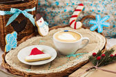 Christmas composition with cookies and coffee — Stock Photo