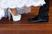 Nevěsta a ženich boty — Stock fotografie