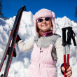 Girl with ski - Stock Photo
